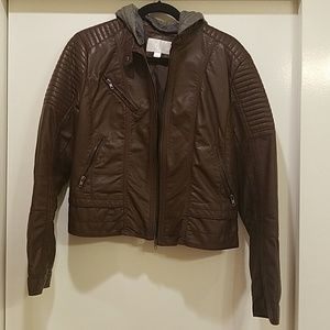 Brown Bomber Faux Jacket